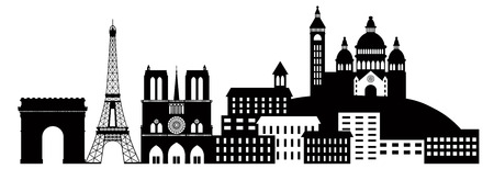 sacred heart: Paris France City Skyline Outline Silhouette Black Isolated on White Background Panorama Illustration