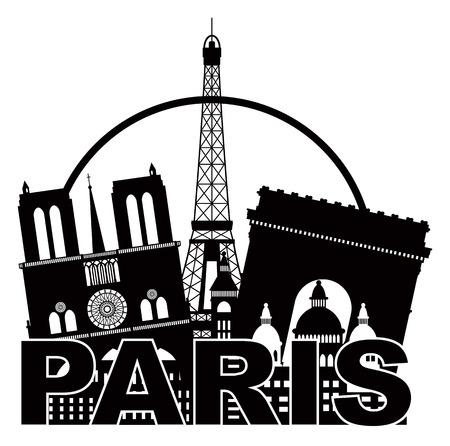 パノラマ図は白い背景で隔離の円のパリ フランス都市のスカイラインの概要シルエット黒  イラスト・ベクター素材