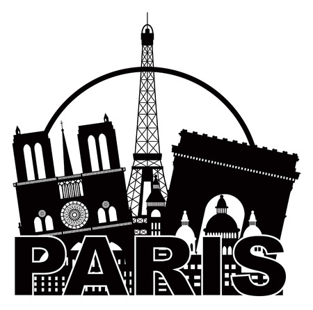 notre dame de paris: Paris France City Skyline Outline Silhouette Black in Circle Isolated on White Background Panorama Illustration Illustration