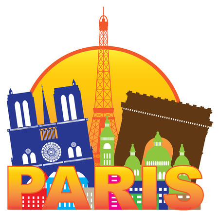 paris skyline: Paris France City Skyline Outline Silhouette Color in Circle Isolated on White Background Panorama Illustration Illustration
