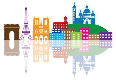 パリ フランス都市スカイライン概要シルエット カラー パノラマ図は白い背景で隔離の反射  イラスト・ベクター素材