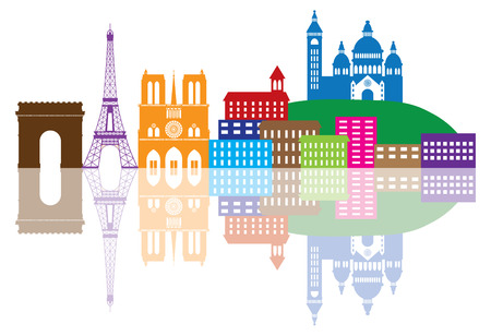 Paris France City Skyline Outline Silhouette Color with Reflection Isolated on White Background Panorama Illustration