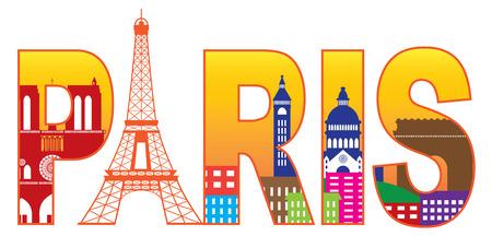 반사와 에펠 탑 (Eiffel Tower) 컬러와 함께 프랑스 파리 도시의 스카이 라인 텍스트 개요 흰색 배경 파노라마 그림에 고립