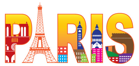sacred heart: Paris France City Skyline Text Outline with Eiffel Tower Color with Reflection Isolated on White Background Panorama Illustration