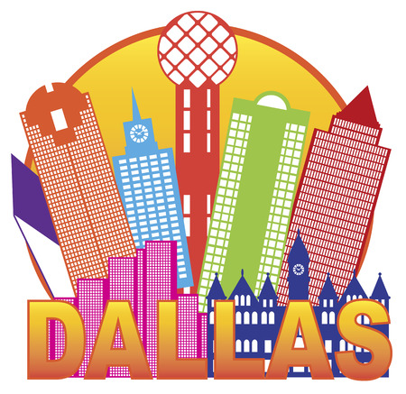 tx: Dallas Texas City Skyline Outline in Circle Color Silhouette Isolated on White Background Illustration