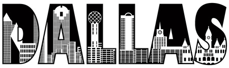 tx: Dallas Texas City Skyline Text Outline Black Silhouette Isolated on White Background Illustration Illustration