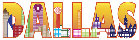 Dallas Texas City Skyline Text Outline Color Silhouette Isolated on White Background Illustration Vector