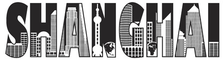 Shanghai China City Skyline Text Outline Black Isolated on White Background Illustration