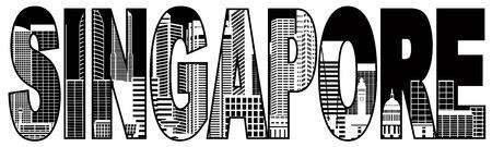 singapore cityscape: Singapore City Skyline Text Outline Panorama Black Silhouette Isolated on White Background Illustration Illustration