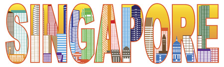 Singapore City Skyline Text Outline Panorama Color Illustration