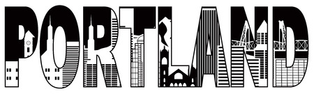 Portland Oregon Text Outline Silhouette with City Skyline Downtown Panorama Black Isolated on White Background Illustration