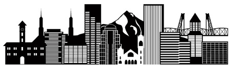 Portland Oregon Outline Silhouette with City Skyline Downtown Panorama Black Isolated on White Background Illustration