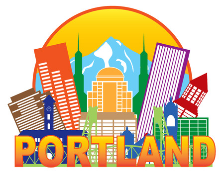 pacific northwest: Portland Oregon Outline Silhouette with City Skyline Downtown Circle Color Text Isolated on White Background Illustration Illustration