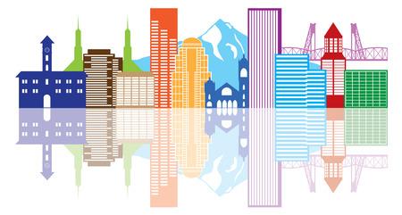 Portland Oregon Silueta del esquema con la reflexión Ciudad Skyline Downtown Panorama de color aislado en blanco ilustración de fondo