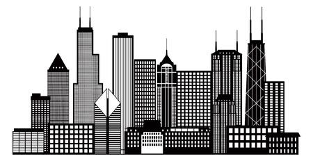 シカゴ都市スカイラインのパノラマ黒いアウトライン シルエット図は白い背景で隔離