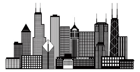 city building: Chicago City Skyline Panorama Black Outline Silhouette Isolated on White Background Illustration