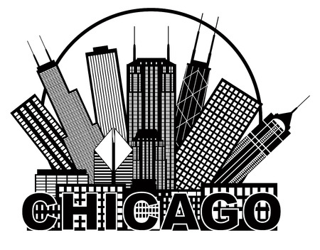 windy city: Chicago horizonte de la ciudad Panorama Negro Silueta Contorno en c�rculo con texto aislado en blanco ilustraci�n de fondo