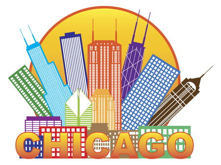 windy city: Chicago City Skyline Panorama Color Outline Silhouette in Circle with Text Isolated on White Background Illustration