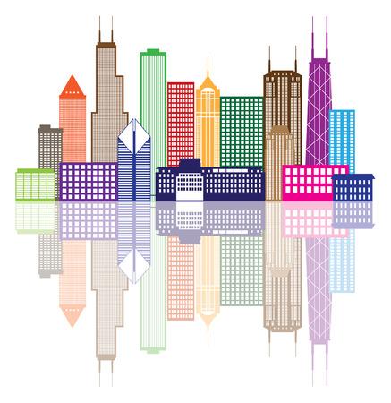 dessin au trait: Chicago City Skyline Panorama Couleur Silhouette-cadre avec r�flexion isol� sur fond blanc Illustration
