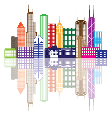 Chicago City Skyline Panorama Color Outline Silhouette with Reflection Isolated on White Background Illustration