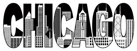 Chicago City Skyline Panorama Black Text Outline Silhouette Isolated on White Background Illustration