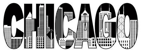 シカゴ都市スカイラインのパノラマに黒のテキスト アウトライン シルエット図は白い背景で隔離