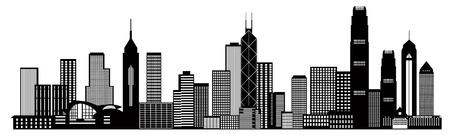 Hong Kong City Skyline Panorama Black Isolated on White Background Illustration Vettoriali
