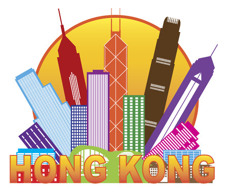 Hong Kong City Skyline in Circle Color Outline Isolated on White Background Illustration Vettoriali