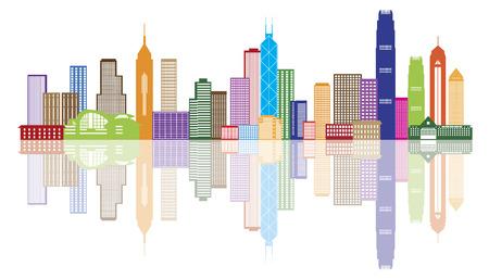 white lines: Hong Kong City Skyline Panorama a colori isolato su sfondo bianco Illustrazione