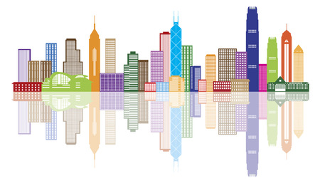 hong kong: Hong Kong City Skyline Panorama Color Isolated on White Background Illustration