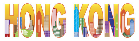 hong kong skyline: Hong Kong City Skyline Text Outline Panorama Color Isolated on White Background Illustration