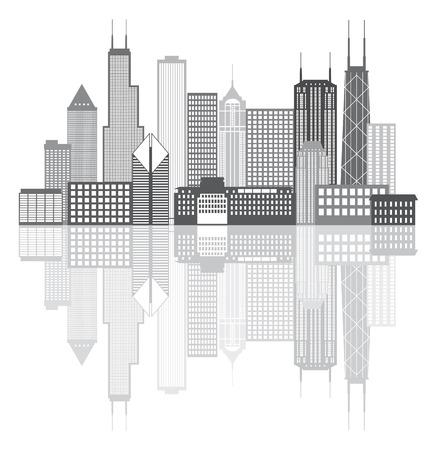 シカゴ イリノイ都市スカイラインのパノラマ グレースケール概要シルエット図は白い背景で隔離の反射