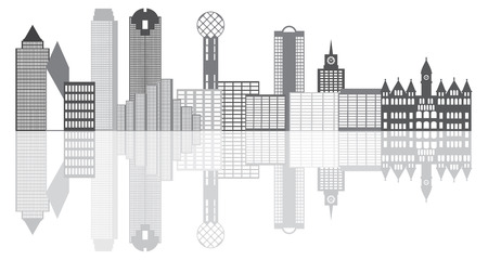 tx: Dallas Texas City Skyline Outline Grayscale Silhouette Panorama Isolated on White Background Illustration Illustration