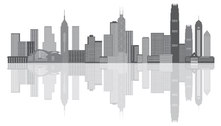 city building: Hong Kong City Skyline Panorama Grayscale Isolated on White Background Illustration