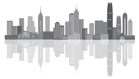 modern buildings: Hong Kong City Skyline Panorama Niveaux de gris isol� sur fond blanc Illustration