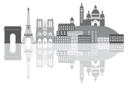 프랑스 파리시의 스카이 라인 흰색 배경 파노라마 그림에 고립 리플렉션 실루엣 그레이 스케일 개요 일러스트