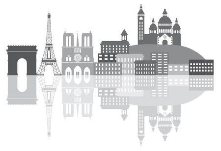 sacred heart: Paris France City Skyline Outline Silhouette Grayscale with Reflection Isolated on White Background Panorama Illustration