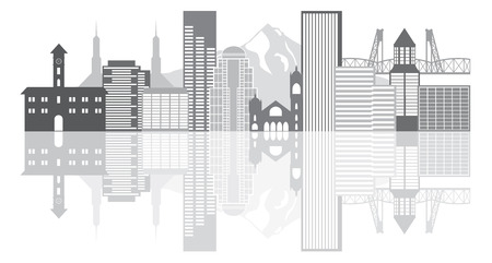 Portland Oregon Outline Silhouette with City Skyline Downtown Panorama GrayscaleReflection Isolated on White Background Illustration Vettoriali