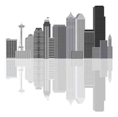 pacific northwest: Seattle Washington Downtown City Skyline in Grayscale Isolated on White Background Illustration
