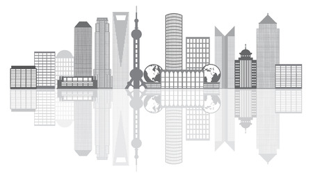 Shanghai China City Skyline Outline Silhouette Grayscale with Reflection Isolated on White Background Illustration  イラスト・ベクター素材