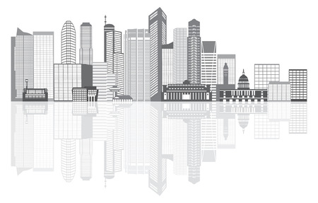 business district: Singapore City Skyline Silhouette Outline Panorama Grayscale with Reflection Isolated on White Background Illustration
