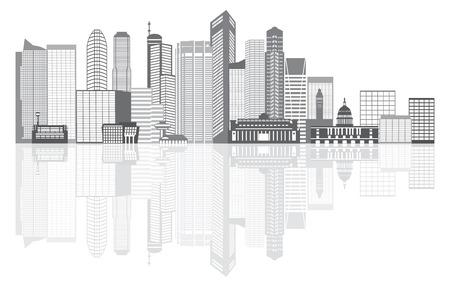 em tons de cinza: Singapore City Skyline Silhueta Contorno Panorama Tons de cinza com reflex