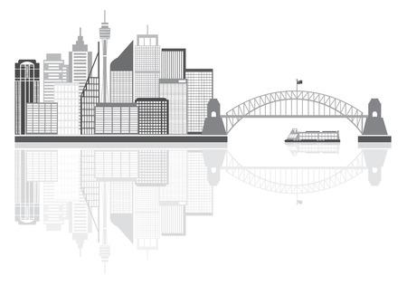 Sydney Australia Skyline Landmarks Harbour Bridge Grayscale with Reflection Isolated on White Background Illustration