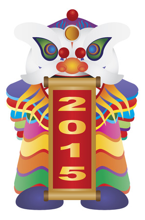 auspicious words: Chinese New Year Colorful Lion Dance Holding Scroll with Numerals 2015 Happy New Year Isolated on White Background Illustration Illustration
