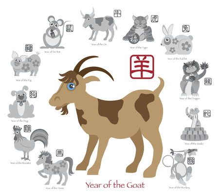 new year poster: Chinese New Year of the Goat in Color with Twelve Zodiacs with Chinese Text Seal in Circle Grayscale Illustration