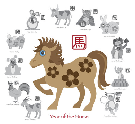 chinese zodiac sign: Chinese New Year of the Horse Color with Twelve Zodiacs with Chinese Text Seal in Circle Grayscale Illustration