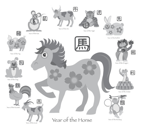Chinese New Year of the Horse 2014 with Twelve Zodiacs with Chinese Text Seal in Circle Grayscale Illustration Vector