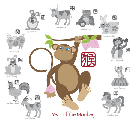 chinese new year rabbit: Chinese New Year of the Monkey Color with Twelve Zodiacs with Chinese Text Seal in Circle Grayscale Illustration