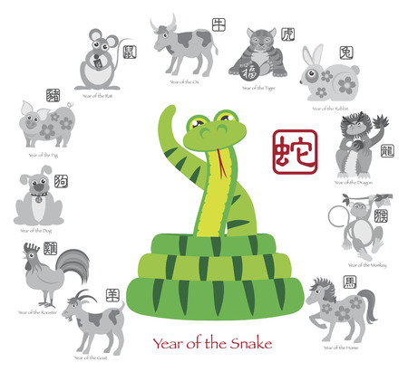 chinese calendar: Chinese New Year of the Snake Color with Twelve Zodiacs with Chinese Text Seal in Circle Grayscale Illustration