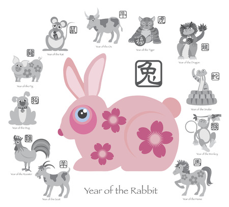 Chinese New Year of the Rabbit Color with Twelve Zodiacs with Chinese Text Seal in Circle Grayscale Illustration Vector